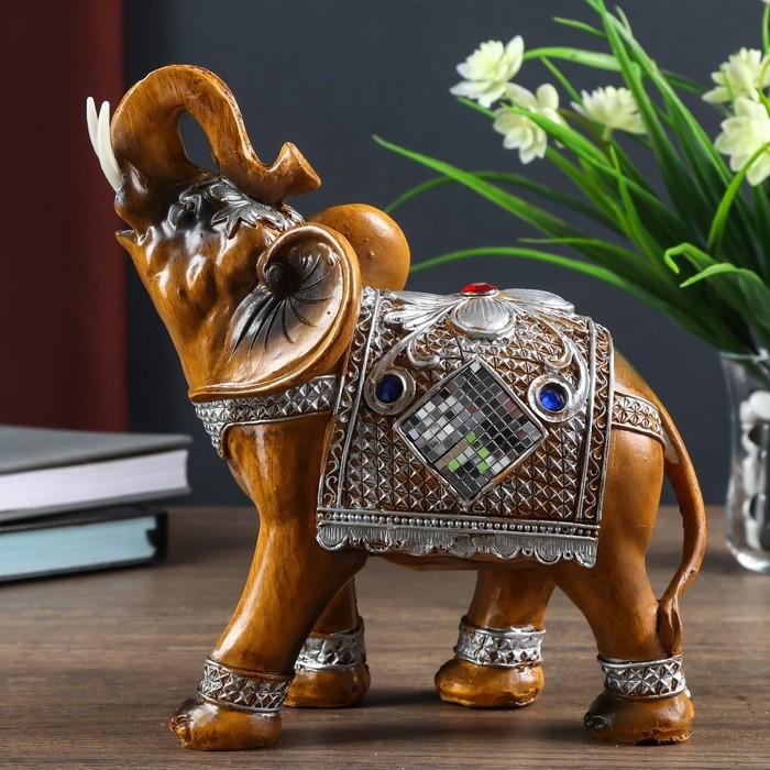 """Сувенир полистоун """"Слон в попоне-кольчуге с мозаикой и золотыми узорами"""" 21х9х19,5 см"""