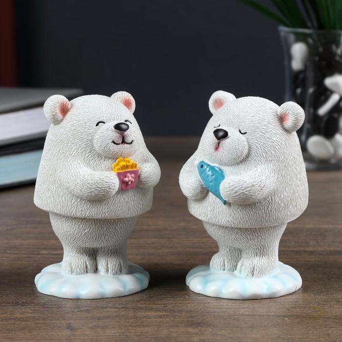 """Сувенир полистоун на пружинке """"Белый мишка"""" МИКС 9,5х5,5х5,5 см"""