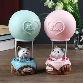 """Сувенир полистоун свет """"Котёнок на воздушном шаре"""" МИКС 21х11х11 см"""