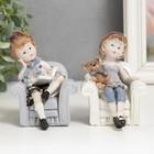 "Souvenir Polyresin ""Girl in a chair with a book/Teddy bear"" MIX 10х7х7 cm"