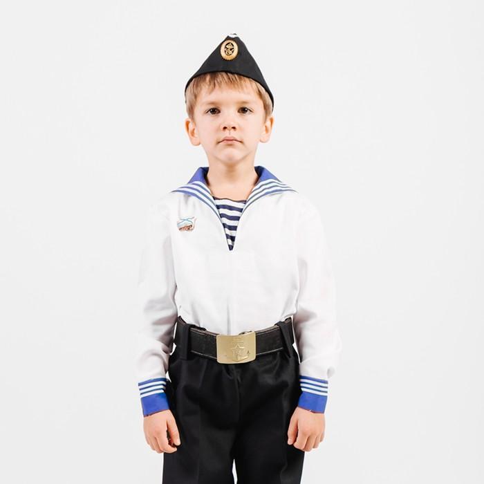 Костюм моряка, фланка, тельняшка, пилотка, ремень, рост 104 см - фото 105522406
