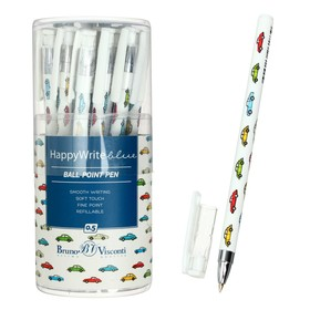 Ручка шариковая HappyWrite «Разноцветные автомобили», узел 0.5 мм, стержень синий