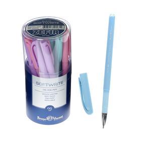 Ручка шариковая SoftWrite Zefir, узел 0.5 мм, синие чернила на масляной основе, матовый корпус Silk Touch, МИКС