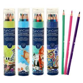 Карандаши цветные 12 цветов Funcolor пластиковые, в картонной тубе, микс из 4 видов
