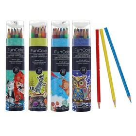 Карандаши цветные 18 цветов Funcolor пластиковые, в картонной тубе, МИКС