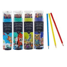 Карандаши цветные 24 цвета Funcolor пластиковые, в картонной тубе, МИКС