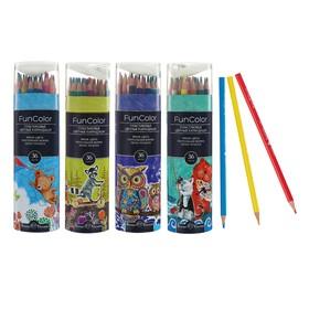 Карандаши цветные 36 цветов Funcolor пластиковые, в картонной тубе, микс из 4 видов