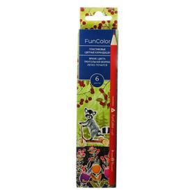 Карандаши цветные 6 цветов Funcolor, пластиковые, трёхгранные, в картонной коробке, микс