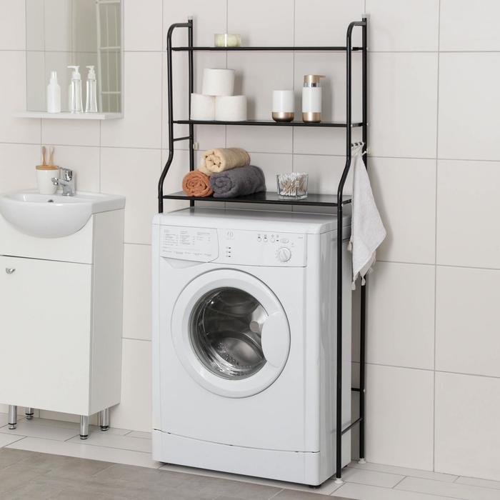 Стеллаж над стиральной машинкой 65×25×152 см, цвет чёрный - фото 4639785