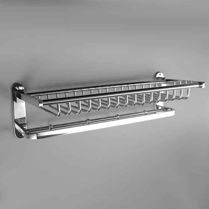 Полка откидная с держателем полотенец, 4 крючка, 59,3×24,7×17,8 см
