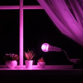 Светильник для растений 9 Вт, 7 мкмоль/с, гибкая ножка 15 см, выкл на корпусе