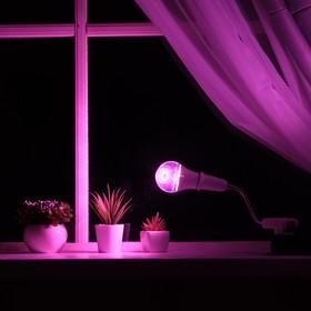 Светильник для растений 12 Вт, 9 мкмоль/с, гибкая ножка 15 см, выкл на корпусе
