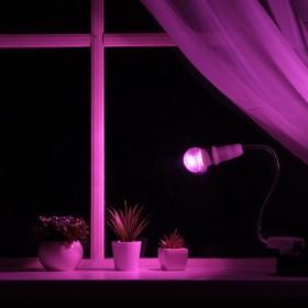 Светильник для растений 7 Вт, 5 мкмоль/с, гибкая ножка 30 см, выкл на корпусе