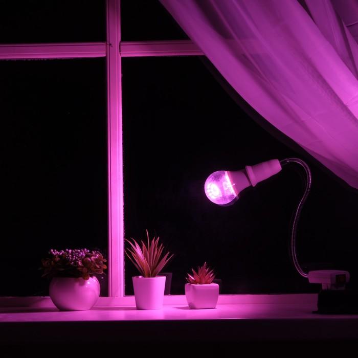 Светильник для растений 9 Вт, 7 мкмоль/с, гибкая ножка 30 см, выкл на корпусе