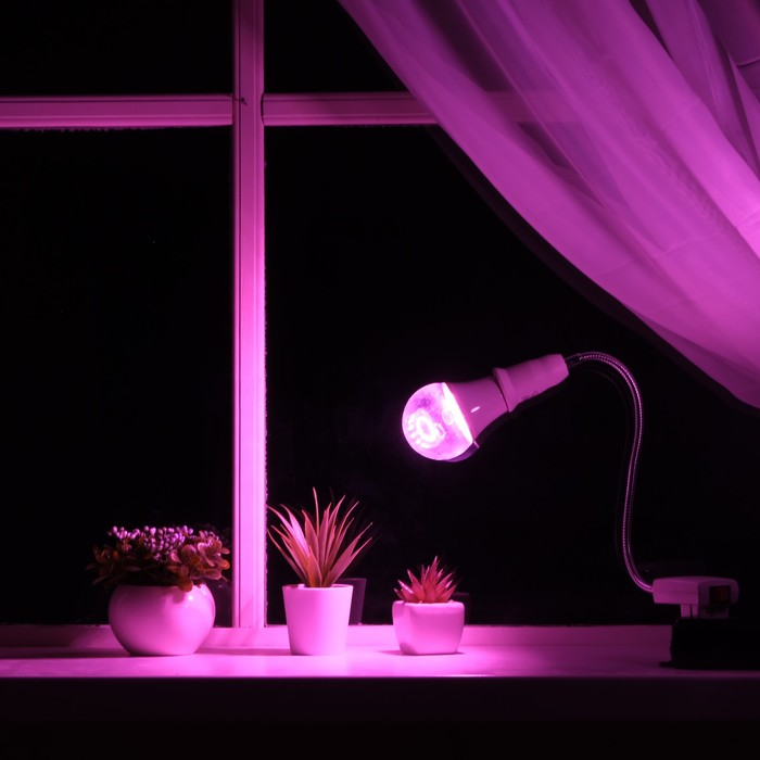 Светильник для растений 12 Вт, 9 мкмоль/с, гибкая ножка 30 см, выкл на корпусе