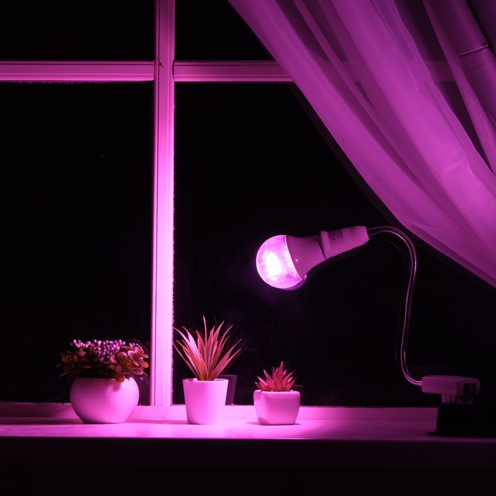 Светильник для растений 15 Вт, 12 мкмоль/с, гибкая ножка 30 см, выкл на корпусе