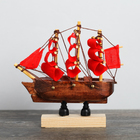 Vehicle on a curved wooden stand of 8 cm, red sails