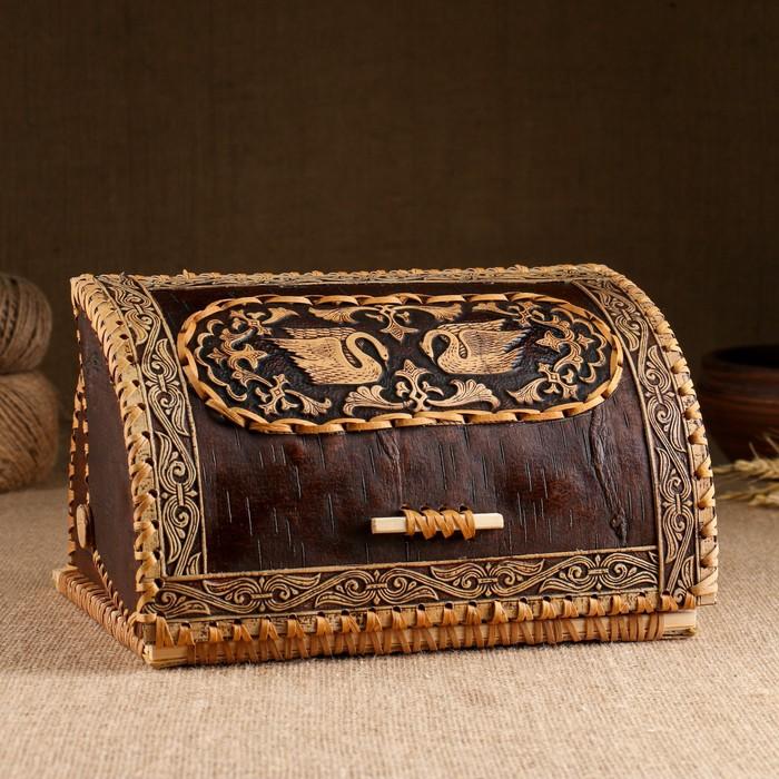 Хлебница «Лебеди», сложная, 28×22×15см, береста, микс - фото 486432