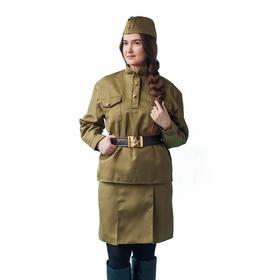 Карнавальный костюм «Солдаточка», пилотка, гимнастёрка, ремень, юбка, р. 52-54