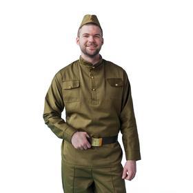 Карнавальный костюм «Солдат», пилотка, гимнастёрка, ремень, р. 54-56