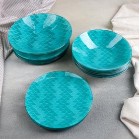 Набор тарелок «Сирена», 19 предметов: салатник, 6 десертных тарелок, 6 обеденных тарелок, 6 мисок