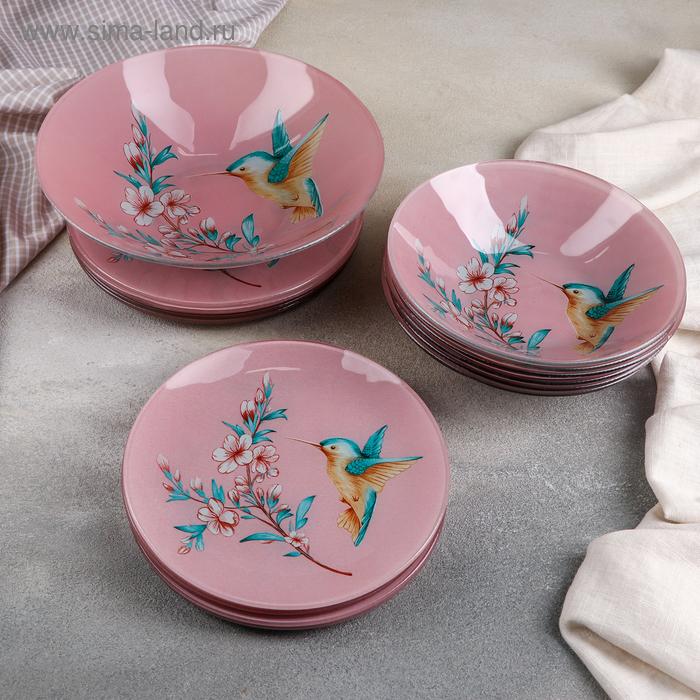 "Set of plates 19 before ""Hummingbird"" bowl, 6 dessert, 6 dinner, 6 bowls"