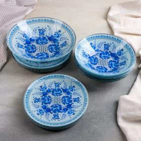 Набор тарелок «Синева», 19 предметов: салатник, 6 десертных тарелок, 6 обеденных тарелок, 6 мисок