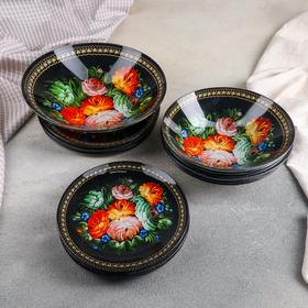 Набор тарелок Доляна «Народные мотивы», 19 предметов: салатник, 6 десертных тарелок, 6 обеденных тарелок, 6 мисок