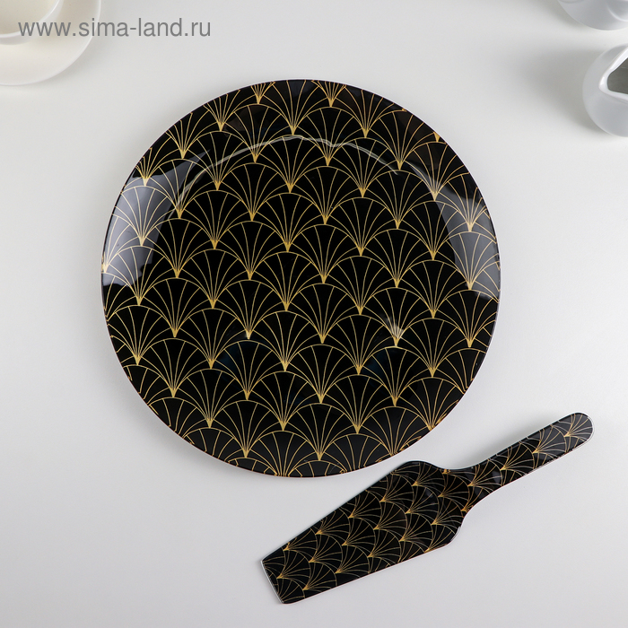 """Tortorice with a shovel """"Golden pen"""" dish 30/2 cm, blade 26,5х7х2 cm"""