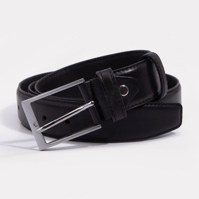 Ремень мужской, ширина 3,5 см, пряжка металл, цвет чёрный - фото 735903