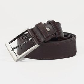 Ремень мужской, ширина 3,5 см, пряжка металл, цвет тёмно-коричневый
