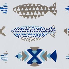 Штора для ванной комнаты Доляна «Рыбки», 180×180 см, EVA
