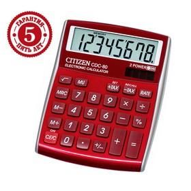 Калькулятор настольный Citizen 8-разрядный, 108,5x135x24,5 мм, 2-е питание, красный