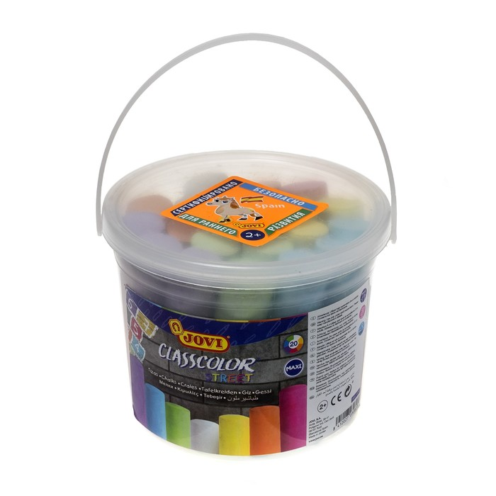 Мелки цветные для асфальта 20 штук, 7 цветов JOVI, круглые, для малышей - фото 1063209