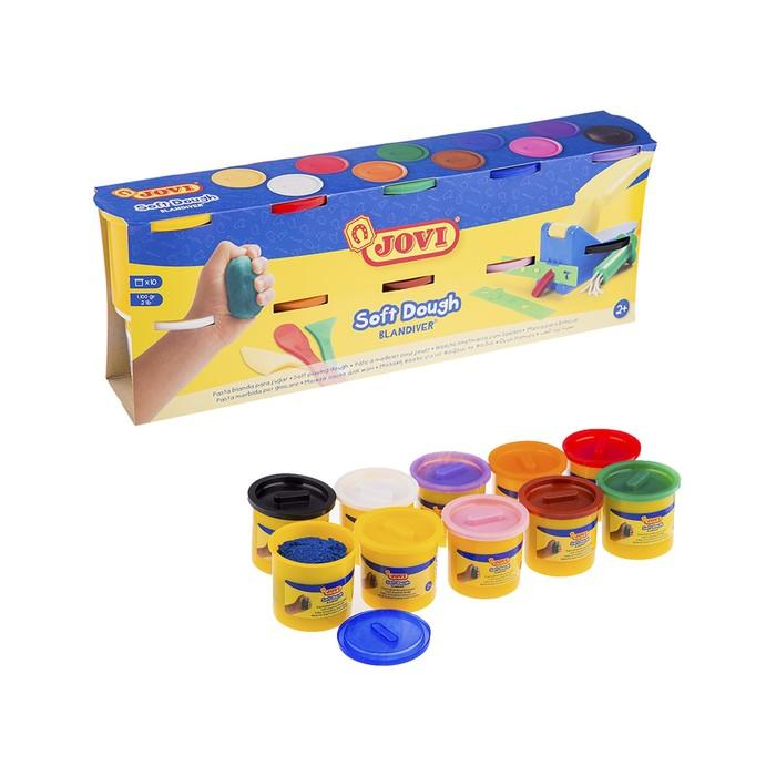 Пластилин на растительной основе JOVI, набор 10 цветов, 1100 г, картонная коробка, для малышей