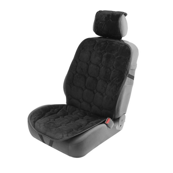 Накидка на переднее сиденье авто 140×50 см, искусственный мех, черный