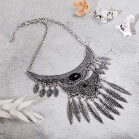 """Колье """"Ажурные перья"""" вензель, цвет чёрный в чернёном серебре, L=35 см в Донецке"""