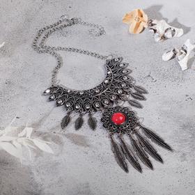"""Колье """"Ажурные перья"""" круг, цвет красный в чернёном серебре, L=35 см"""