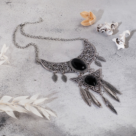 """Necklace """"bird feathers"""" triangle, black in blackened silver, L=35 cm"""