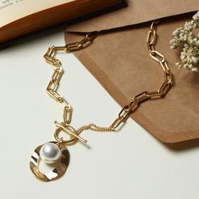 """Кулон """"Цепь"""" жемчуг в овале, цвет белый в золоте, шар 16, 45см"""