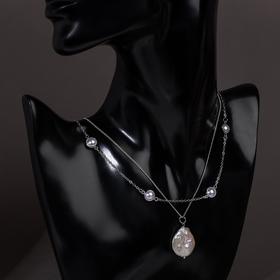 Pendant Top pearl shell, white color in silver, L=60