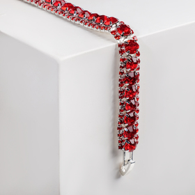 """Bracelet with rhinestone """"Northern lights"""" snake, the color red in silver"""