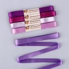 Набор атласных лент, 5 шт, размер 1 ленты: 12 мм × 5,4 ± 0,5 м, цвет фиолетовый спектр