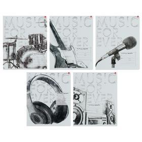 """Тетрадь 24 листа в клетку """"Music. Black&White"""", обложка мелованная бумага, ВД-лак, МИКС"""