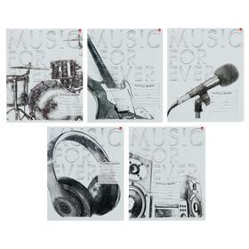 """Тетрадь 24 листа в линейку """"Music. Black&White"""", обложка мелованная бумага, ВД-лак, МИКС"""
