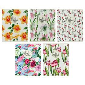 Тетрадь 48 листов в клетку «Цветы феерия», обложка мелованный картон, УФ-лак, МИКС