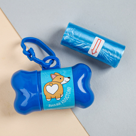 Контейнер с пакетами для уборки за собаками «Виляй хвостиком» (рулон 15 шт) Ош