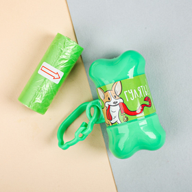 Контейнер с пакетами для уборки за собаками «Гулять» (рулон 15 шт) Ош