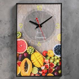 """Часы настенные, серия: Кухня, """"Тропические фрукты"""", 57х35х4 см"""