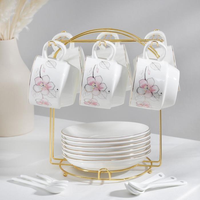 Сервиз чайный «Роза», 19 предметов: 6 чашек 170 мл, 6 блюдец 13,5 см, 6 ложек, на металлической подставке - фото 241732